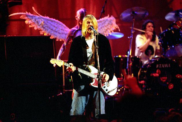 Nirvana frontman Kurt Cobain performing in