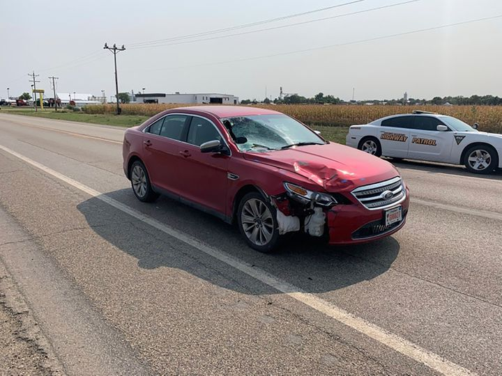 This Sept. 15, 2020 photo shows the car that South Dakota Attorney General Jason Ravnsborg was driving when he he struck and killed 55-year-old Joseph Boever.