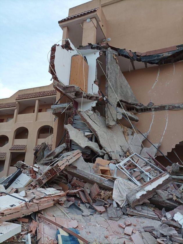 El edificio derrumbado en