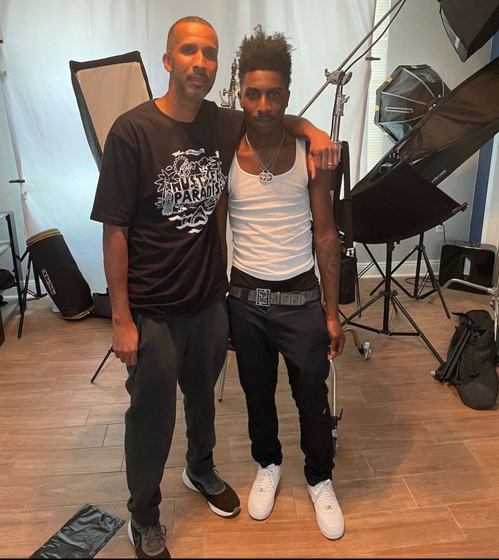 """Mac Phipps with his son, McKinley """"Taquan"""" Green, who raps under the name Bandana Kin. Green grew up in Baton Rouge, where Phipps was living when he was arrested. """"His music is probably, I would say, most influenced by his upbringing and the sound of his area,"""" Phipps said. """"It was tough for him. It was rough. And I think his music reflects that."""""""