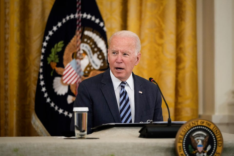 US President Joe Biden speaks during a meeting about cybersecurity in the East Room of the White House...