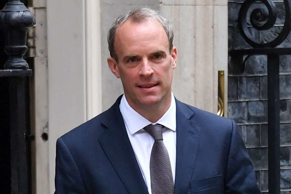 Britain's Foreign Secretary Dominic Raab leaves 10 Downing