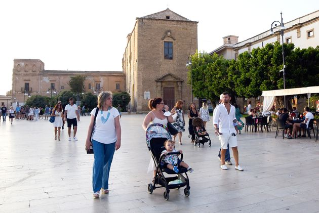 SCIACCA, ITALY - 2021/08/18: People seen at the Piazza