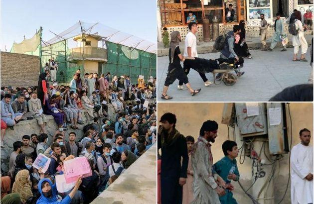 A sinistra la folla davanti all'aeroporto, a destra le prime immagini dopo l'attacco, pubblicate su Twitter dall'emittente afghana Tolo News