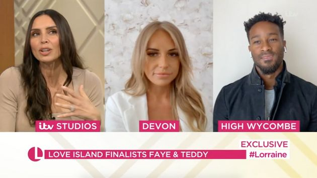Christine Lampard interviewing Faye and Teddy on