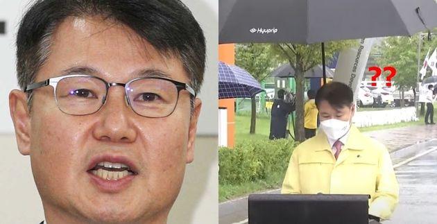 Detrás del viceministro Kang Seong-guk, un empleado del Ministerio de Justicia arrodillado sosteniendo un paraguas