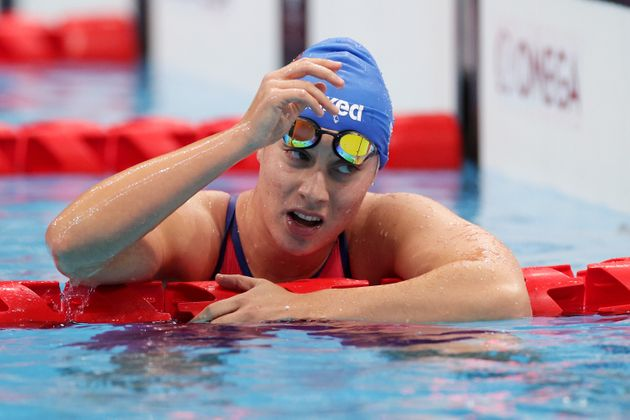 TOKYO, JAPAN - AUGUST 27: Carlotta Gilli of Team Italy reacts after winning the silver medal during the women's 400m freestyle - S11final on day 3 of the Tokyo 2020 Paralympic Games at Tokyo Aquatics Center on August 27, 2021 in Tokyo, Japan. (Photo by Adam Pretty/Getty Images)