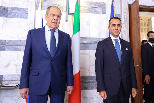 Russian Foreign Minister Sergei Lavrov and Italian Foreign Minister Luigi Di Maio pose for a picture during a meeting in Rome August 27, 2021. Russian Foreign Ministry/Handout via REUTERS THIS IMAGE HAS BEEN SUPPLIED BY A THIRD PARTY. NO RESALES. NO ARCHIVES. MANDATORY CREDIT