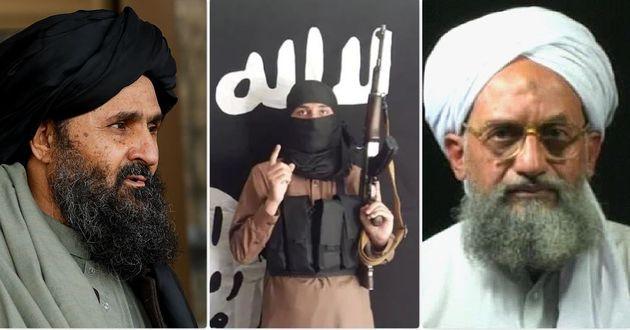 Da sinistra: Abdul Ghani Baradar, esponente dei talebani; rivendicazione dell'Isis-K; il leader di Al-Qaeda Ayman al-Zawahiri