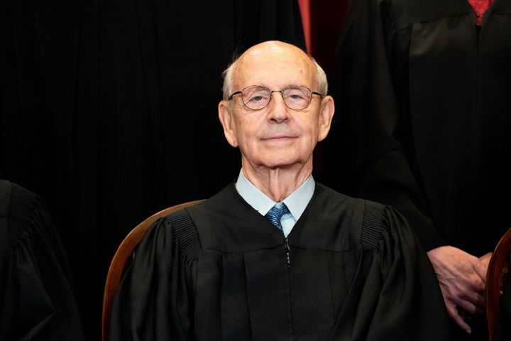 Associate Justice Stephen Breyer sits during a group photo of the Justices at the Supreme Court in Washington, D.C. on April