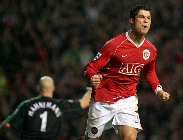 Cristiano Ronaldo playing for Manchester United
