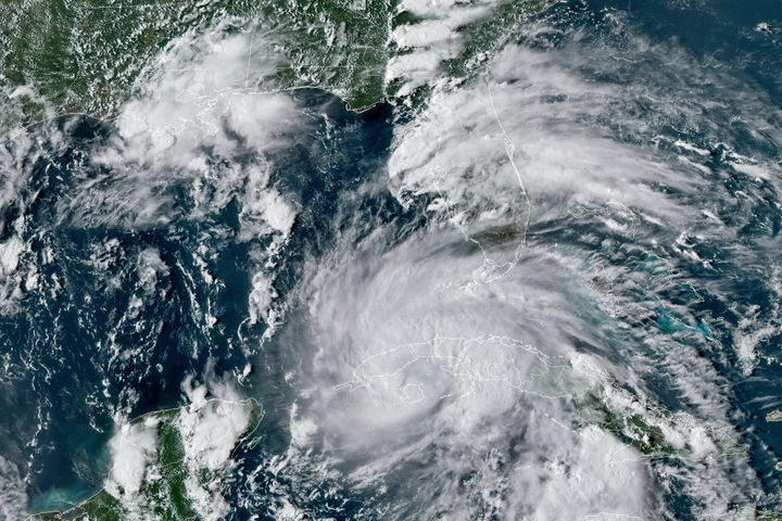 This GOES-16 East GeoColor satellite image taken Friday, Aug. 27, 2021, at 4:40 p.m. EDT, and provided by NOAA, shows Hurrica