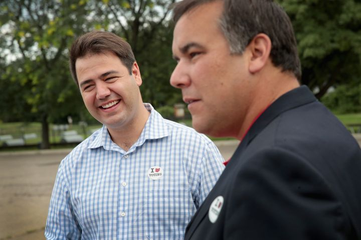 Danny O'Connor, left, stands with Columbus Mayor Andrew Ginther in August 2018. O'Connor's praise for Ginther's handling of protests against police racism elicited some criticism.