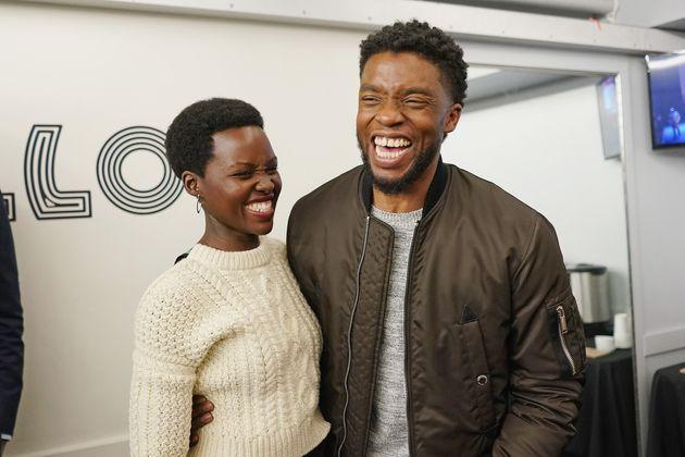 Black Panther stars Lupita Nyong'o and Chadwick Boseman pictured in