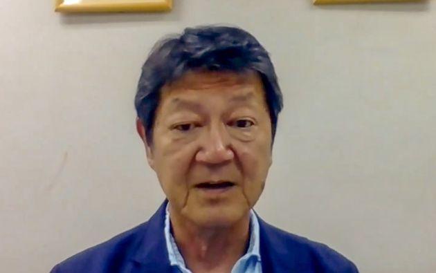 オンラインで取材に応じる大阪同企連の柄川忠一理事長