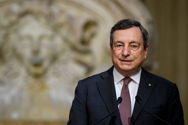 ROME, ITALY - MAY 31: Italian Prime Minister Mario Draghi holds a joint press conference with the Prime Minister of Libya Abdul Hamid Mohammed Dabaiba or Dbeibeh (not in picture) after a meeting at Palazzo Chigi, on May 31, 2021 in Rome, Italy. The prime ministers are said to have several issues related to cooperation between the two countries, including immigration, transitional justice and debts. (Photo by Antonio Masiello/Getty Images)