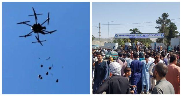 Drone degli Stati uniti e la folla all'aeroporto di Kabul