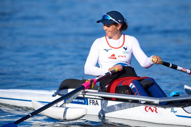 La rameuse française Nathalie Benoit le 11 octobre 2020 au lac Malta, en