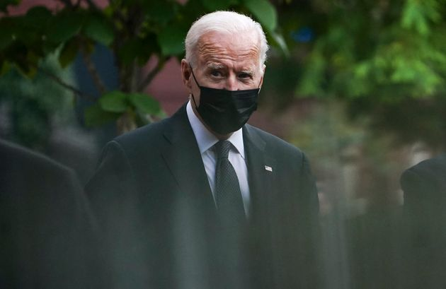 US President Joe Biden leaves the Holy Trinity church in the Georgetown neighborhood of Washington, DC after attending mass there on August 29, 2021. (Photo by ANDREW CABALLERO-REYNOLDS / AFP) (Photo by ANDREW CABALLERO-REYNOLDS/AFP via Getty Images)