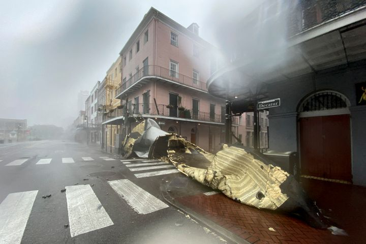 A section of a building's roof is seen after being blown off during rain and winds in the French Quarter of New Orleans, Louisiana on August 29, 2021 during Hurricane Ida.