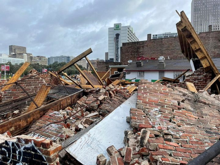 The damaged remains of the Karnofsky shop as seen Monday after Hurricane Ida pummeled New Orleans with strong winds.