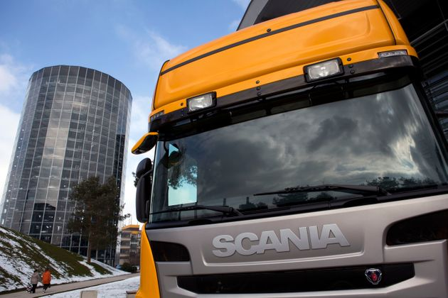 A Scania truck is on display at the German car maker Volkswagen's headquarters on March 14, 2013 in Wolfsburg, northern Germany. AFP PHOTO / DAVID GANNON (Photo credit should read DAVID GANNON/AFP via Getty Images)