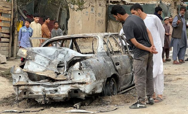 A view from the scene after at least five rockets were fired at the Afghan capital Kabul's Hamid Karzai...