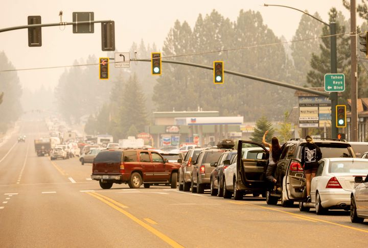 Residents are stuck in traffic Monday as they attempt to evacuate while the Caldor fire approaches South Lake Tahoe, California.