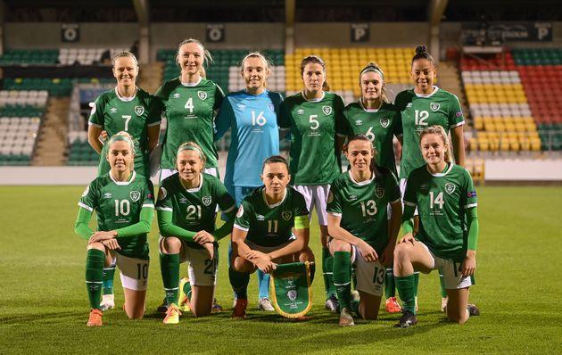 Les joueuses de l'équipe de football d'Irlande, lors d'une match qualificatif pour l'Euro féminin...