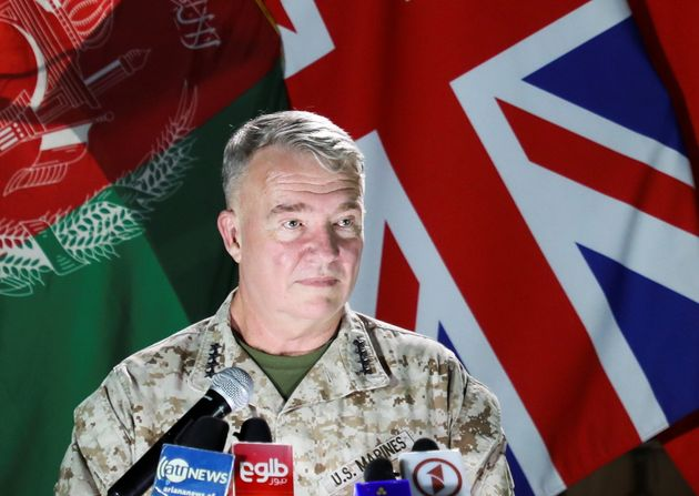 US Marine Corps General Kenneth McKenzie, commander of US Central Command, speaks during a news conference,...