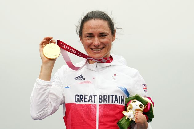 Gold medalist Sarah Storey of Team Great Britain poses on the podium at the medal ceremony for the Cycling Road Women's C5 Time Trial