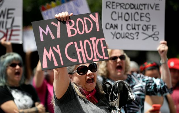 A group gathers to protest abortion restrictions at the state Capitol in Austin, Texas, on May 21,