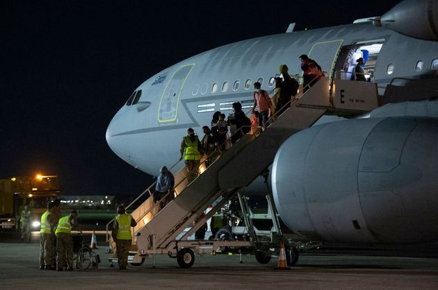 Passengers evacuated from Afghanistan landing at RAF Brize