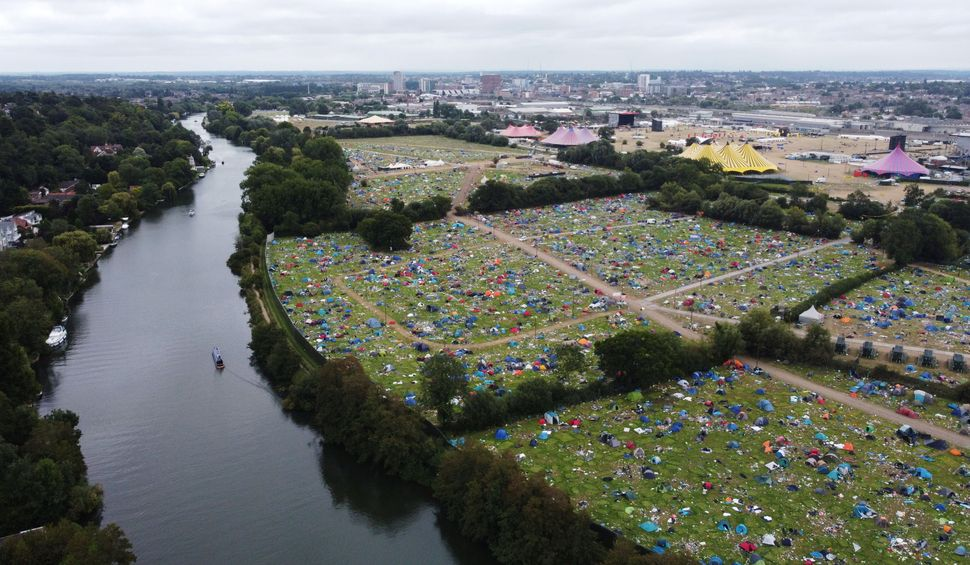 Abandoned tents are seen at the Reading Festival campsite after the event, in Reading, Britain, August 31, 2021.