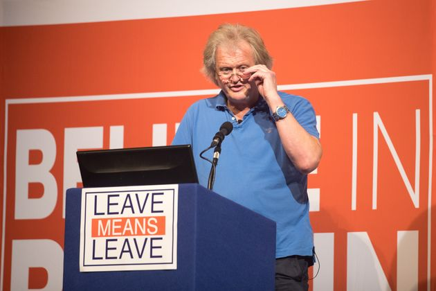 Tim Martin, founder and chairman of JD Wetherspoon speaks at the 'Leave Means Rally' at the Rivera International...