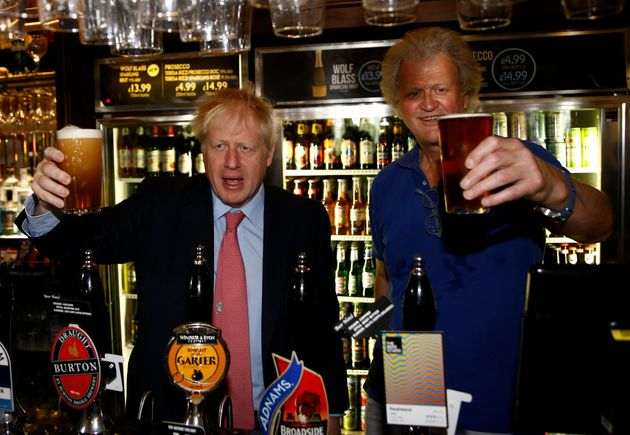 Brexit-backing Boris Johnson and Brexit supporter JD Wetherspoon chairman Tim Martin pictured at Wetherspoons...