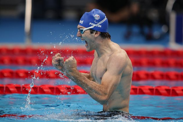 TOKYO, JAPAN - SEPTEMBER 01: Antonio Fantin of Team Italy celebrates after winning the gold medal in...