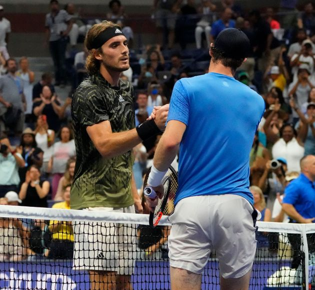 Aug 30, 2021; Flushing, NY, USA; Stefanos Tsitsipas of Greece after beating Andy Murray of Great Britain on day one of the 2021 U.S. Open tennis tournament at USTA Billie King National Tennis Center. Mandatory Credit: Robert Deutsch-USA TODAY Sports
