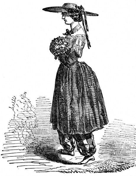 (1818-1984) 미국 페미니스트 아멜리아 젠크스 블루머. 그가 디자인하고 입었던 '블루머' 스타일 / 1869년 런던 목판화