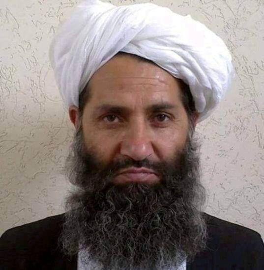 Taliban leader Mullah Haibatullah Akhundzada is seen in an undated photograph, posted on a Taliban twitter...