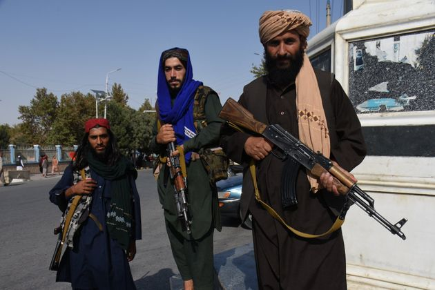 Taliban members are seen in Mazar-i-Sharif, capital of northern Balkh province,