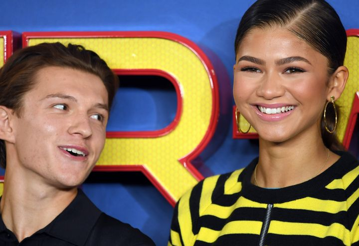 """Tom Holland and Zendaya attend the """"Spider-Man: Homecoming"""" premiere in 2017."""