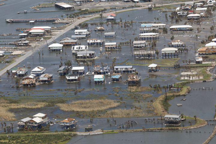 Homes are flooded on Grand Isle, Louisiana, afterHurricane Ida made landfall Sunday.