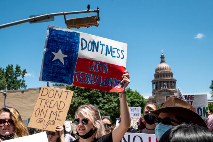 Protesters opposed to the Texas abortion ban march outside the Texas Capitol on May 29.