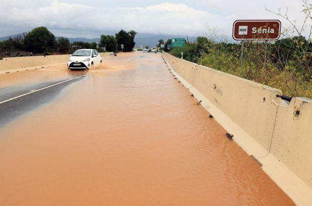 La localidad de Alcanar (Tarragona), una de las que este miércoles ha sufrido las peores