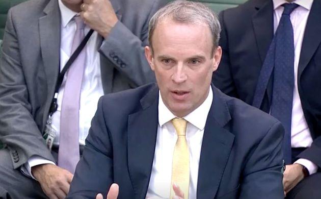 El ministro británico de Exteriores, Dominic Raab, este miércoles, durante su comparecencia ante la Comisión...