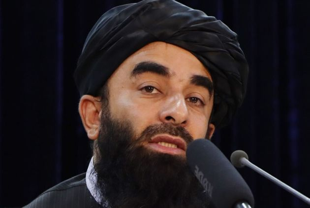 KABUL, AFGHANISTAN - AUGUST 24: Taliban spokesperson Zabihullah Mujahid holds a press conference in Kabul, Afghanistan on August 24, 2021. (Photo by Haroon Sabawoon/Anadolu Agency via Getty Images)