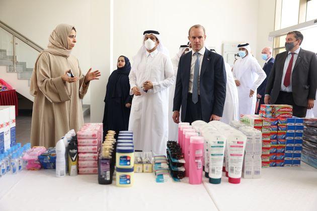 Foreign secretary Dominic Raab in Doha, Qatar, on Thursday, looking at an array of