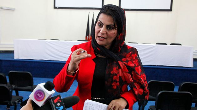 La directora del Centro para la Protección de las Periodistas Afganas, Farida Nekzad, durante una conferencia...