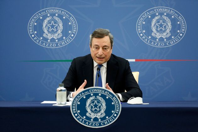 The Italian Premier Mario Draghi during the press conference after the minister's cabinet. Rome (Italy), May 20th 2021 (Photo by Samantha Zucchi/Insidefoto/Mondadori Portfolio via Getty Images)